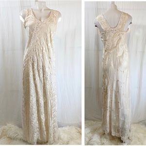 BOHO Lace Western Wedding Dress Handkerchief gown